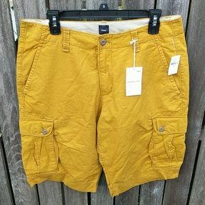 Gap Cargo Shorts 33 Golden Tumeric Mens Mustard